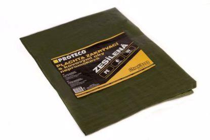 Obrázek PROTECO plachta 4x5 m zesílená nepromokavá s oky zelená 100g/m2
