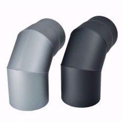 Obrázek Koleno kouřové silnostěnné černé 160 mm/1,5 mm/90 st.